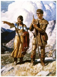 Drawing of people in buckskin clothes